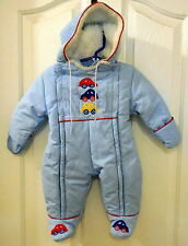 WEATHER TAMER Hooded WINTER SNOWSUIT blue outerwear 6 Mo boy