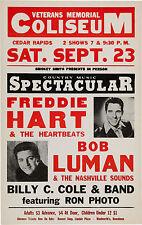 FREDDIE HART / BOB LUMAN Concert Handbill / Window Poster - reprint