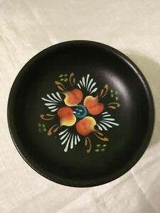 Small Handpainted Wood Footed Pedestal Bowl 2 1/2 in Tall