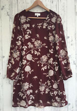 APRICOT Burgundy Shift Dress Sheer Chiffon Style Sleeves Fully Lined Size 10