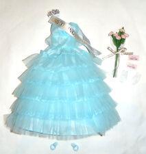 Barbie Doll Fashion Repro Strapless Aqua Blue Dress For Barbie Doll vf61