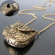 Creative Bronze Eternal Bag Pendant Chain Locket Box Curb Carved Long Necklace