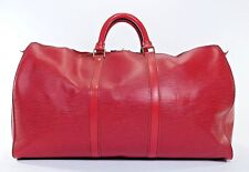 Vintage Louis Vuitton Keepall 50 Red Epi Leather Duffle Bag Suitcase Carry JU225