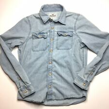 Hollister Distressed Denim Jean Cotton Button Down Long Sleeve Shirt Size X