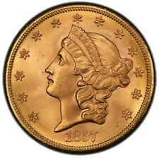 Liberty Double Eagles 1857-S $20 MS65+ PCGS CAC Beautiful Coin High Grade