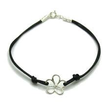 argent sterling bracelet massif 925 fleur avec cuir b000212 Empress