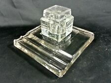 Antique Vtg Art Deco Crystal Glass Inkwell Crystal Pen Tray Pen Holder Desktop