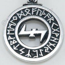 WOLF ANGEL Viking Magical Runic Protection Runes Wolfsangel Pendant Necklace