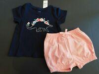 NWT Gap Baby Toddler Girl's 2Pc Blue Dinosaur Top/Bubble Shorts 18-24M Free Ship