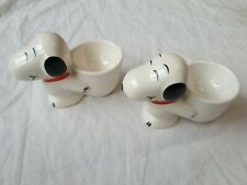 Snoopy Egg Cups Vintage Peanuts Ceramic, 2 egg cups