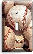 BASEBALL OLD RUSTIC BALLS SINGLE LIGHT SWITCH WALL PLATE COVER SPORT ROOM DECOR