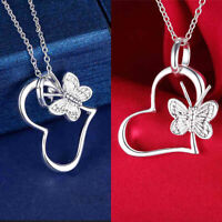 Women 925 Silver Cute Heart Butterfly Flower Charm Chain Necklace Jewelry newly