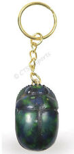 NEW Green Scarab Key Chain Hand Painted Dung Beetle Egyptian Treasures Free S&H