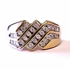 10k yellow gold .48ct I1 H diamond cluster ring band 5.4g estate womens vintage
