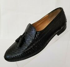 Rossi Mens Loafers Apron Toe Tassel Genuine Reptile Black Leather Shoes Size 8