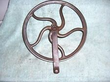 Antique Groove Pulley Cast Iron 12 1/2 in. Wheel  5 Curved Spokes Barn Fresh