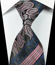 New Paisleys Stripe Pink Black Blue JACQUARD WOVEN 100% Silk Men's Tie Necktie
