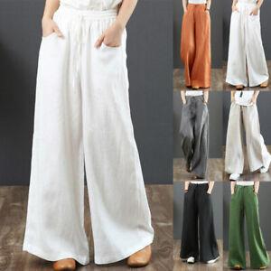 Women's Cotton Linen Wide Leg Yoga Pants Ladies Casual Loose Drawstring Trousers