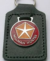 HILLMAN HUNTER ENAMEL BADGED LEATHER KEYRING, KEY CHAIN, KEY FOB