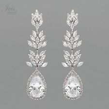 18K White Gold Plated Cubic Zirconia CZ Wedding Bridal Drop Dangle Earrings 7067