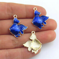 Plated Sea Goldfish Pendant Beach Charms 21317 2pcs Cloisonne Navy Enamel Gold