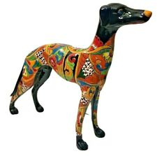 "Talavera Italian Greyhound Dog Ceramic Statue Whippet Mexican Folk Art 23"" Xl"
