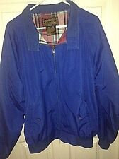 EUC Eddie Bauer Royal Blue Jacket XL Cotton Blend Full Zip Plaid Lining FS!