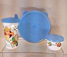 Matching Winnie Pooh Tupperware Lunch Set - Bowl - Snack Cup - Cup - With Lids
