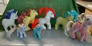Lot 6 Hasbro MY LITTLE PONY 1980's G1 + 1 flocked 1 is SUGAR BERRY some need tlc