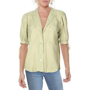 Free People Womens Safari Babe Green Linen Blend Top Blouse Shirt M BHFO 5883