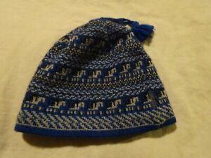 COLUMBIA Nordic Pattern Fleece Lined Dangle Tassel YOUTH hat one sz Winter Warm