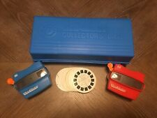 Vintage Red/Blue View-Master 3D Collectors's Case & 32 Reels M. Mouse & More