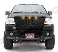 04-08 Ford F150 Raptor Gloss Black Front Hood Mesh Grille+Shell+Amber 3x LED