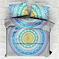 Indian Mandala Turquoise Bed Cover Queen Bohemian Bedding Bedsheet Set Decor