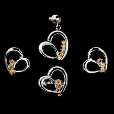 CHAMPAGNE CUBIC ZIRCONIA 925 SILVER HEART Earrings Ring Pendant Jewelry SET