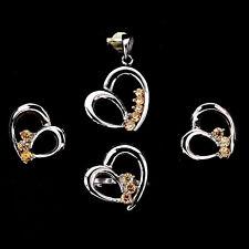 CHAMPAGNE CUBIC ZIRCONIA 925 SILVER HEART Earrings Ring Pendant Jewelry SET