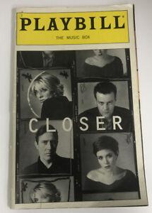 Closer Playbill Rupert Graves Anna Friel Ciaran Hinds Natasha Richardson