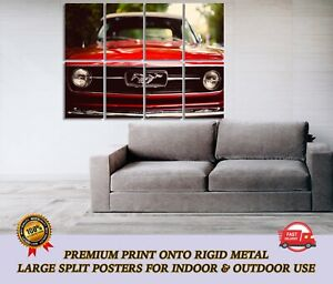 Vintage Ford Mustang Car LARGE METAL Poster Wall Art Print Split Section A1