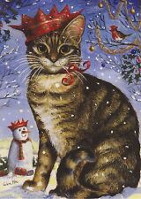 Unusual Tabby Cat With Snowman & Robin Xmas Card From Painting By Celia Pike 025