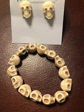 Tarina Tarantino Classic Skull Cream Color Lucite Post Earrings W/ Free Bracelet