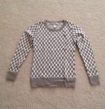 Banana Republic Women Petite Honeycomb Beige Hexagon Grid Pattern Sweater XS