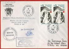 1981-Lettre Taaf-Antartic-Crozet-Gorfou-manchot-Timbre.Yt.81