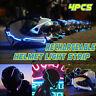 4pcs Moto Casque Bande de Lumière Rechargeable Autocollant Nuit Signal Lumières