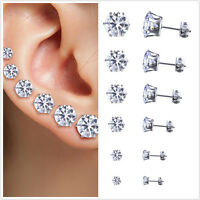 6 Pair Stainless Steel Round Womens Stud Earrings Cubic Zirconia Inlaid 3-8mm DS