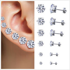 6 Pair Stainless Steel Round Womens Stud Earrings Cubic Zirconia Inlaid 3-8mm RD