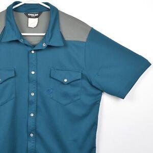 Pearl Izumi Men's Medium Pearl Snap Teal Blue Rockabilly Cycling Shirt