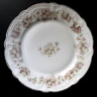 """Z. S. & C. R.*7.75"""" Dish CHINA PLATE Floral PINK+LILAC FLOWERS Gold Trim BAVARIA"""