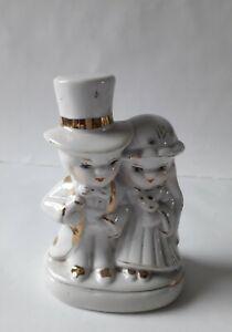 Vintage Bride And Groom Porcelain Figurine in White & Gold ~ Cake Topper? 11.5cm