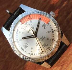 Antique Vintage Swiss Watch 17Jewels FHF ST96 HAND WINDING Silver Dial Men's