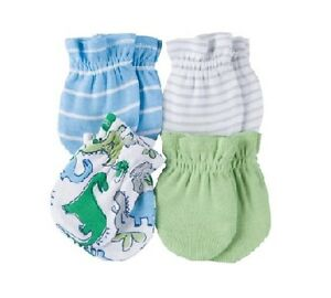 Gerber BOY 4-Pack Blue/Green Dinosaurs Mittens Size 0-3M BABY CLOTHES GIFT